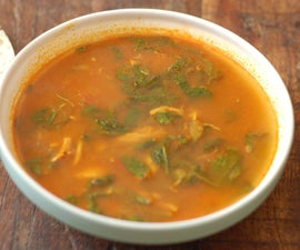 south indian style chicken, spinach and tomato soup