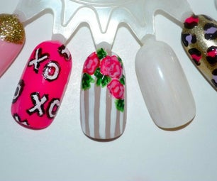 Floral Striped Nail Art Tutorial
