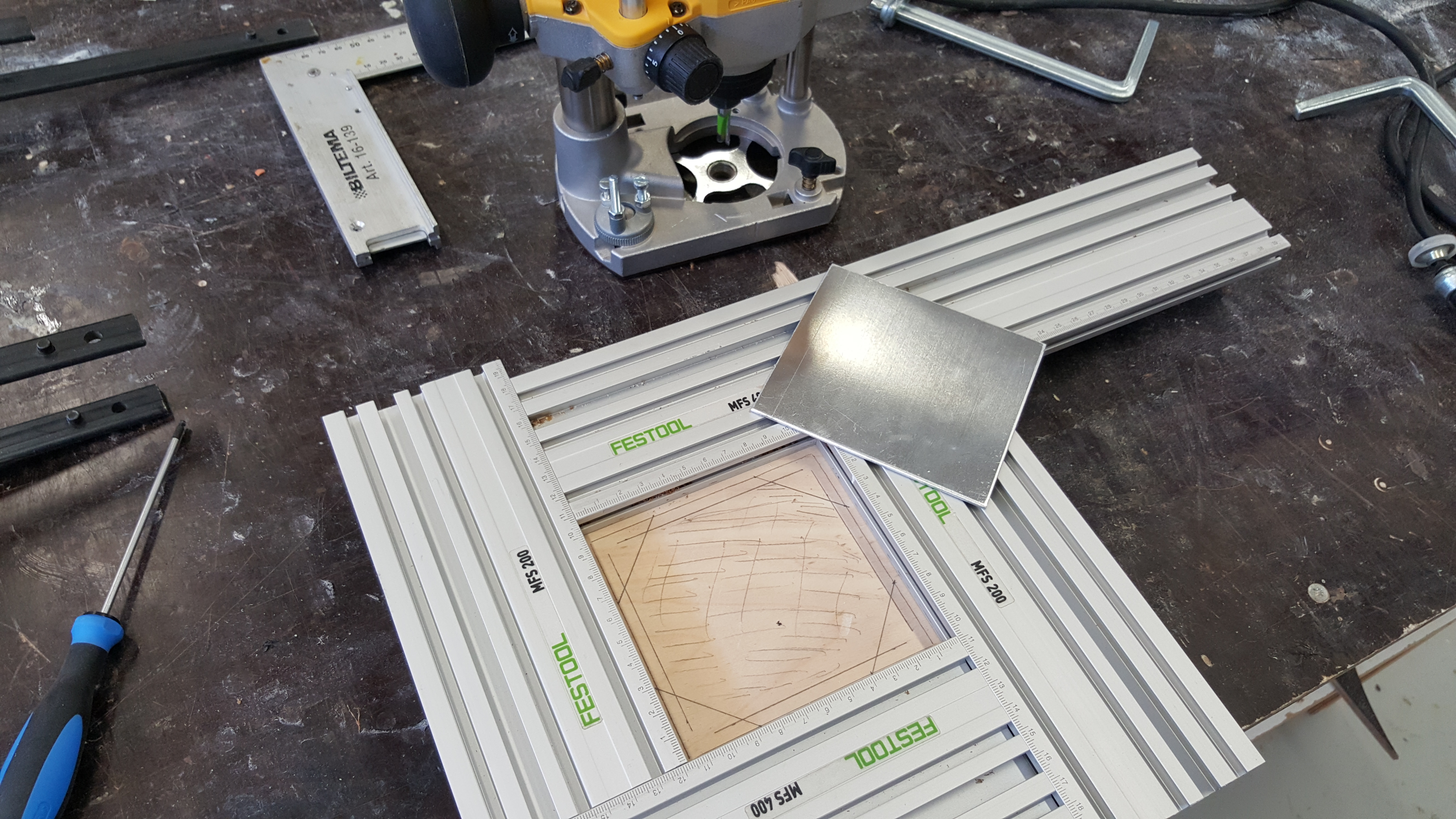 Picture of Cutting the Hole and Recess for the Aluminium Plate