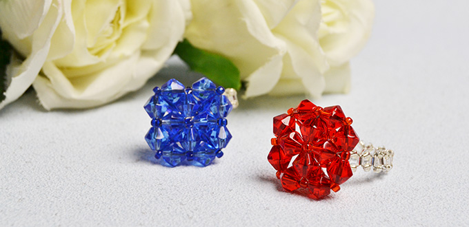 Picture of Pandahall Tutorial on How to Make Diamond Shaped Rings With Glass Beads