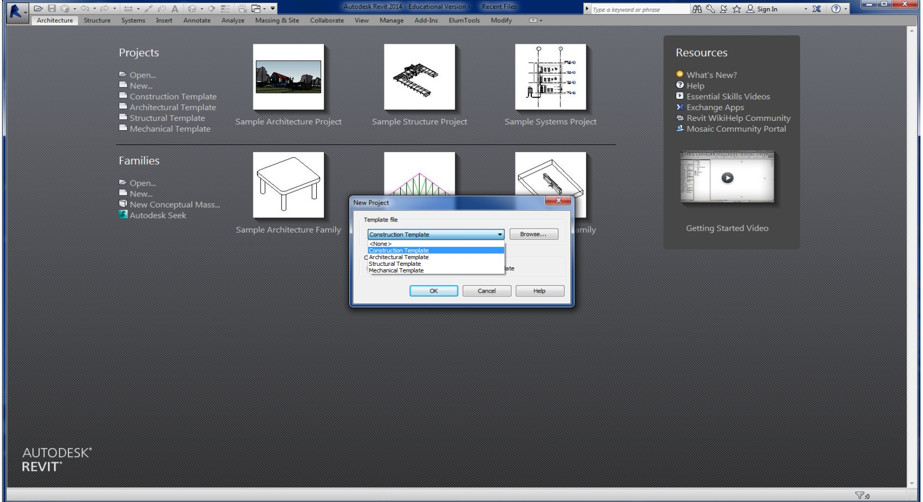 Picture of Opening a New File in Revit