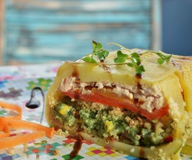Smoked Salmon Terrine With Zucchini, Quinoa and Spinach
