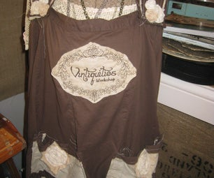 Shabby Chic Slouch Apron From a Skirt