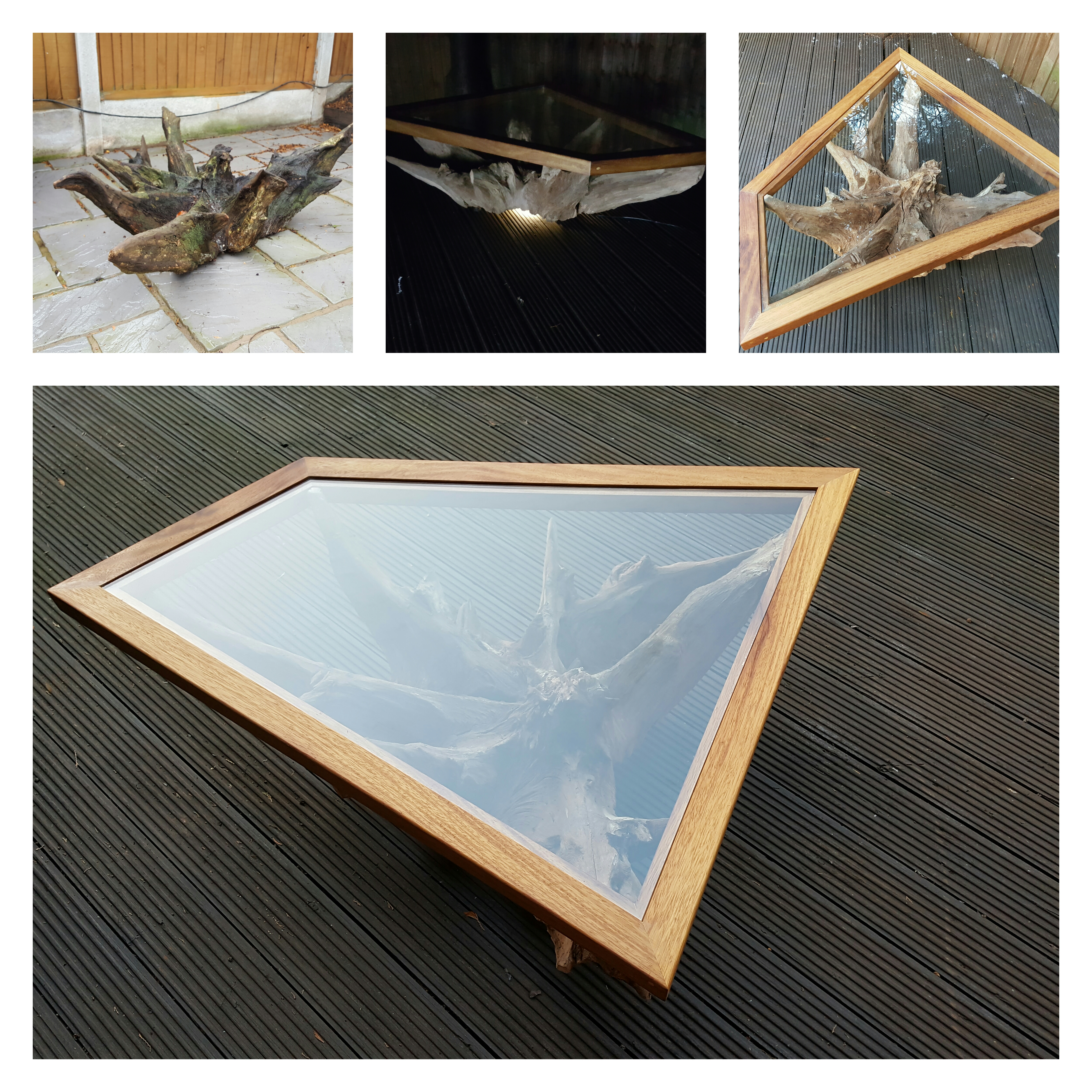 Picture of Tree Root Table With Custom Glass Top and Underlight