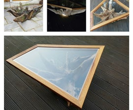 Tree root table with custom glass top and underlight