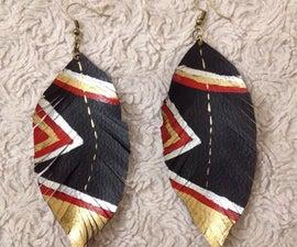 Fancy Leather (Feather) Earrings