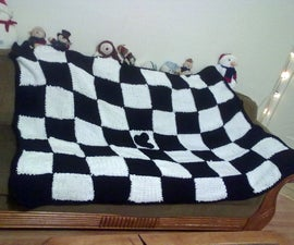 Black and White Knitted Blanket