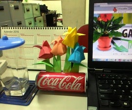 Origami Tulips Garden With Can Pot
