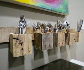 Pallet Wood Silverware Holder