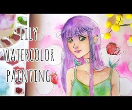 Lily Watercolor Painting.