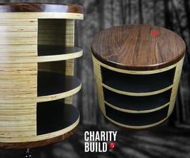 Cylindrical Plywood & Walnut Side Table