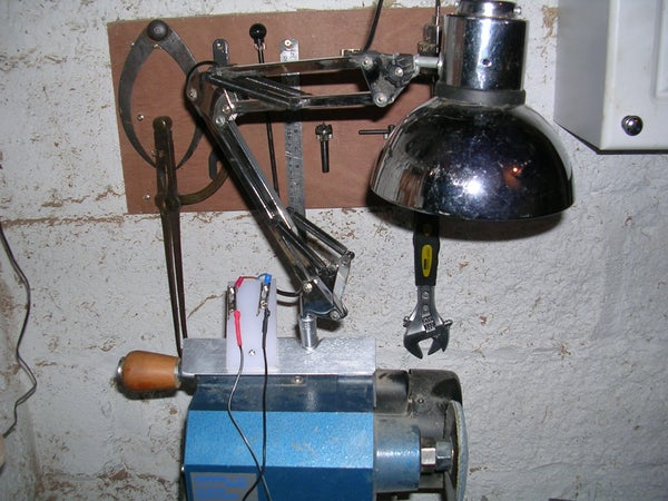 Clamp on 12 V Anglepoise Lamp for Wood Lathe Made for Recycled Stuff.