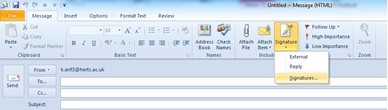 Picture of Click on 'Signature' in Top Menu Bar and Open 'Signatures...'