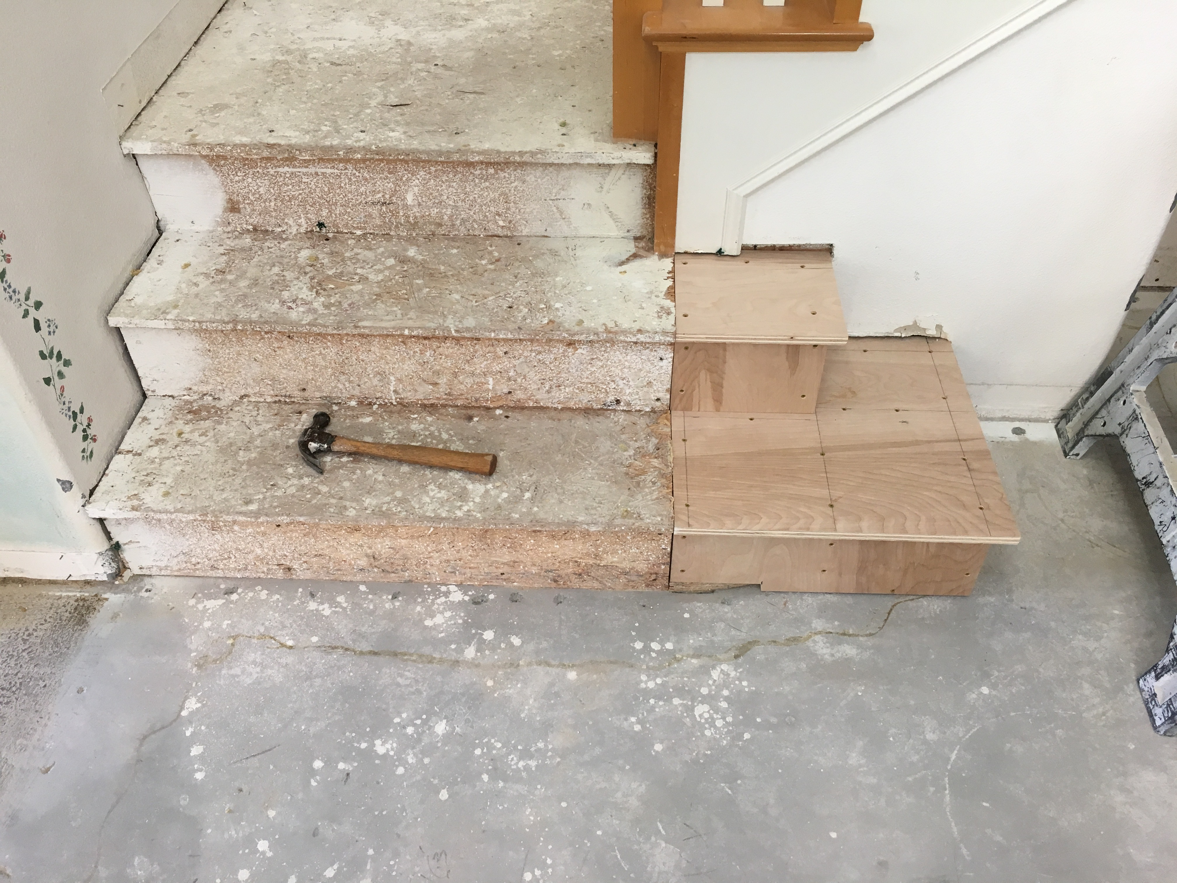 Picture of Demo and Construction of One Side of the Staircase