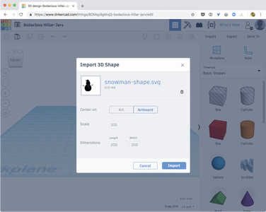 Import the Snowman in Tinkercad