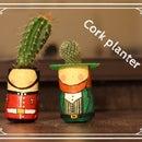 Cork-figurine planter