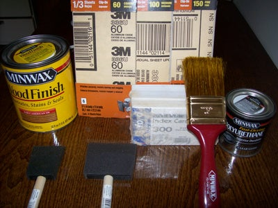 List of Tools, Stain, and Clear Coat Needed to Complete Project