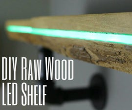 DIY Color Changing Raw Wood LED Shelf
