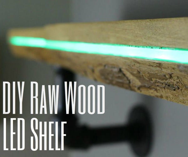 DIY Color Changing Raw Wood LED Shelf