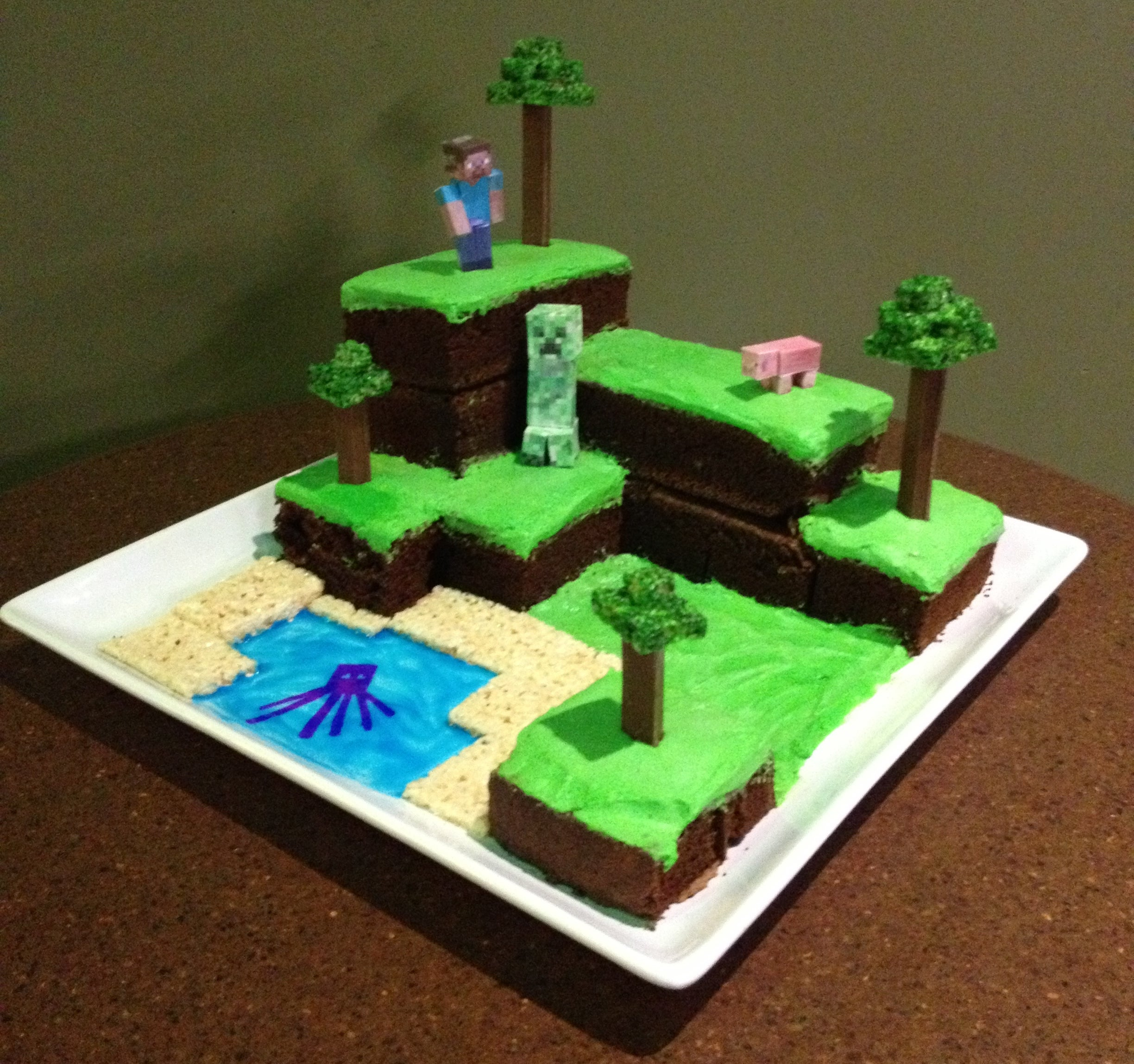 Tremendous Minecraft World Cake With Pictures Instructables Funny Birthday Cards Online Fluifree Goldxyz