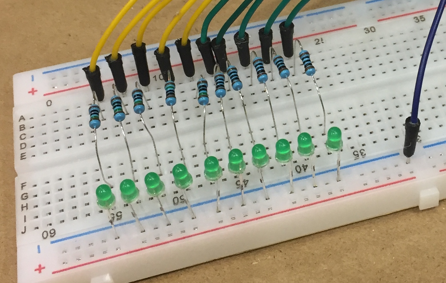 Picture of Breadboard Connections: LEDs