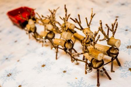 Miniature Wooden Reindeer and Sleigh