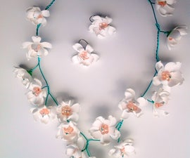 Sakura blossom necklace and earrings with YUPO paper