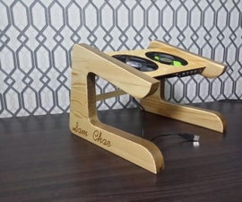 Custom designed laptop stand from reclaimed woods.