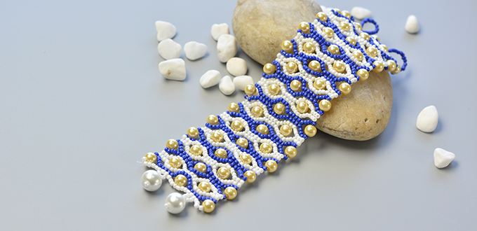 Picture of Detailed Tutorial on How to Make a Blue Seed Bead Stitch Wide Bracelet With Yellow Pearl Beads