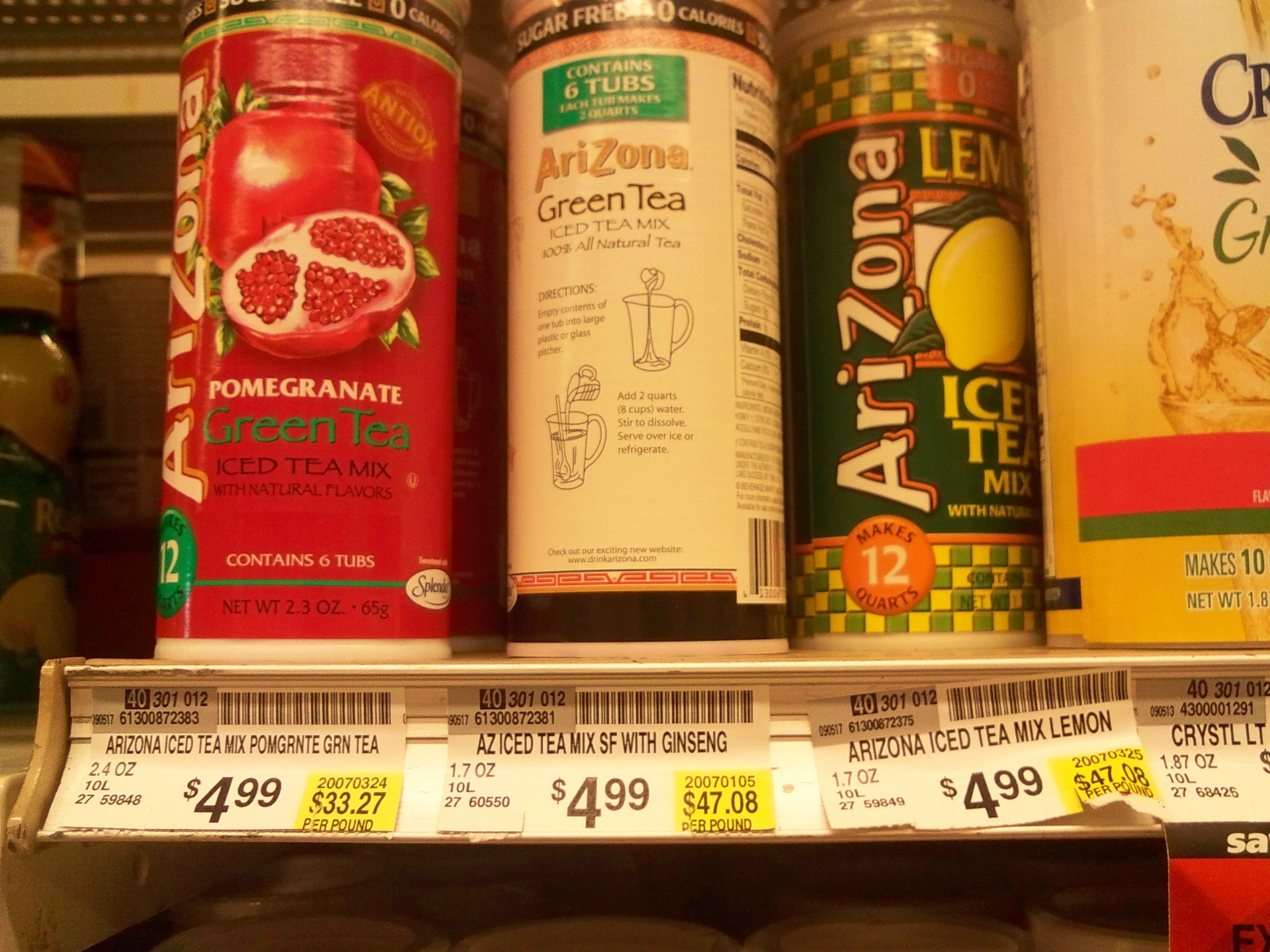 """Picture of """"Arizona"""" Drinks From Powder: $1.70 / Gal"""