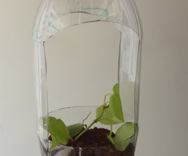 Upcycling a bottle into a hanging pot