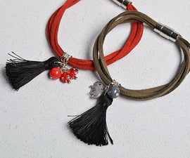 How to Make Simple Couple Bracelets with Suede Cord and Cute Charms