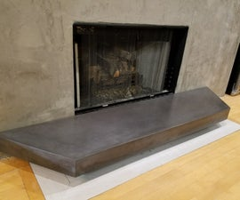GFRC Floating Concrete Hearth for Concrete & Wood Fireplace