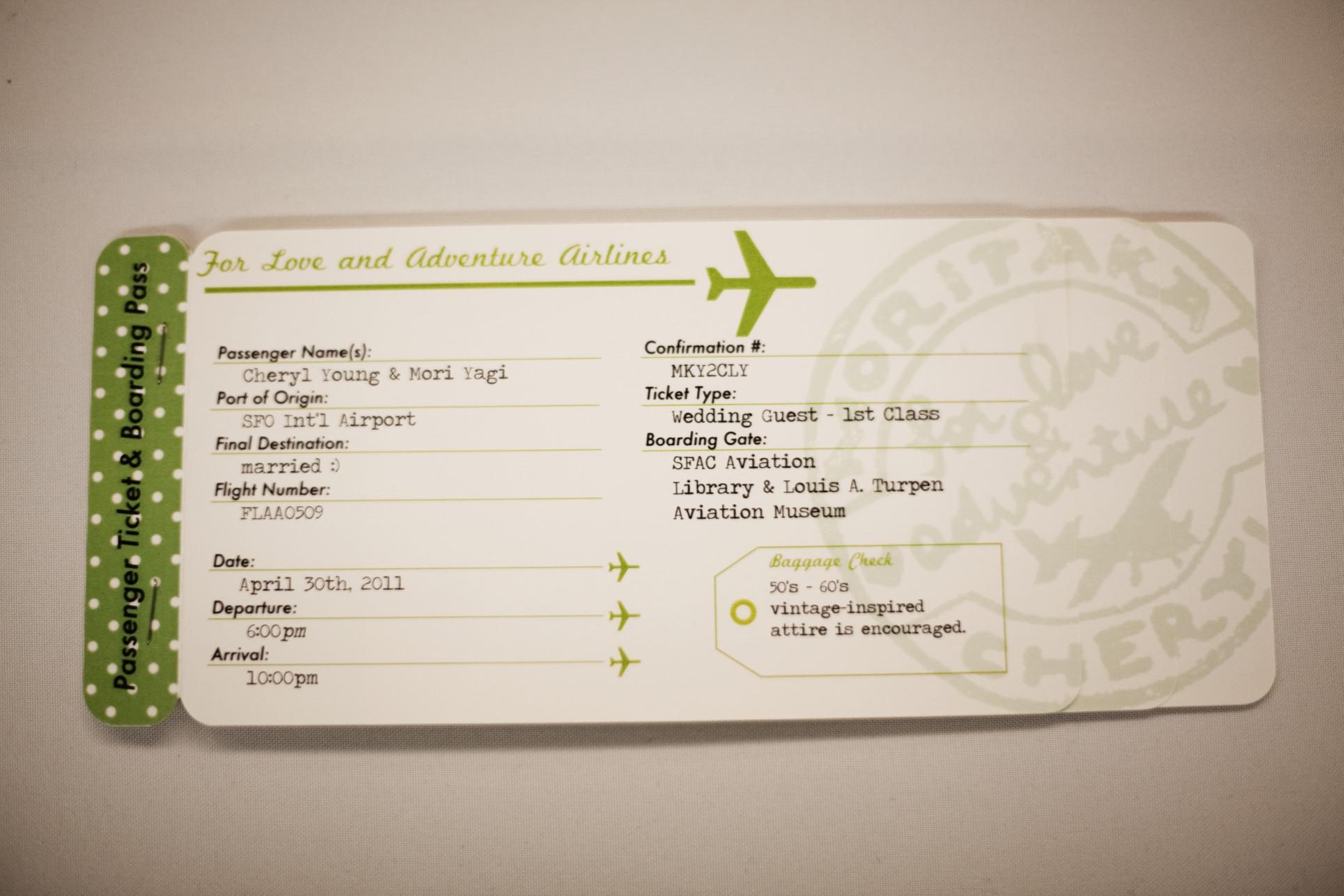 Plane Ticket Invitations, Passport Programs, and Luggage Tag Escort ...