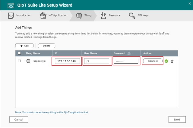 Picture of Enter the IP Address, User Name, and Password of Your Device and Click the Connect Icon. QIoT Suite Lite Will Check the Connection With the Device. After the Connection Is Verified, Click Next.