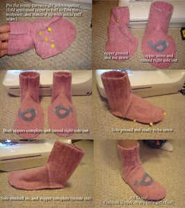 Sewing the Slipper Together and Trying Them On!