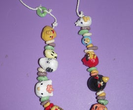 Comic character clay bead necklace (with homemade clay)