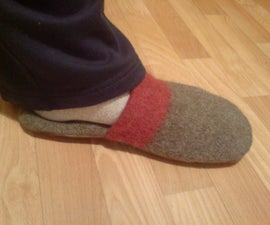 A fine and warm pair of slippers from a woolen blanket