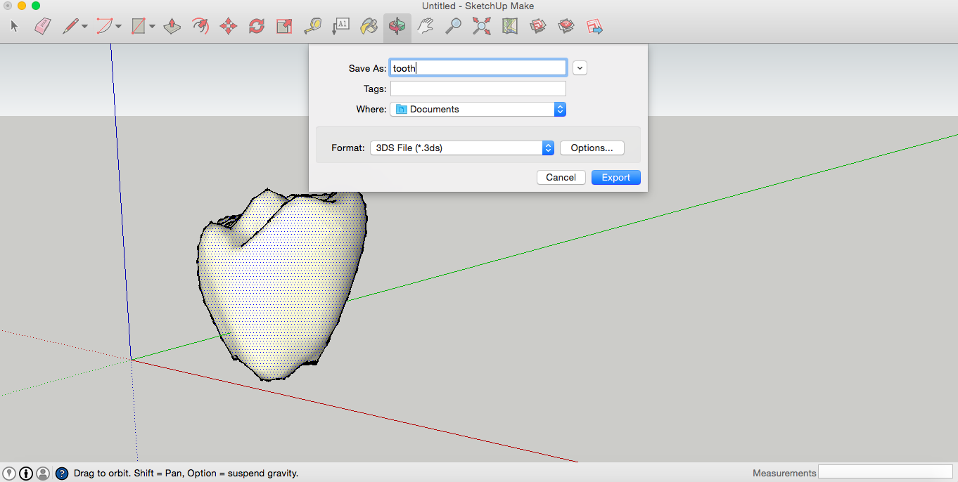 Picture of Import a 3D Model of Teeth From the Google 3D Warehouse