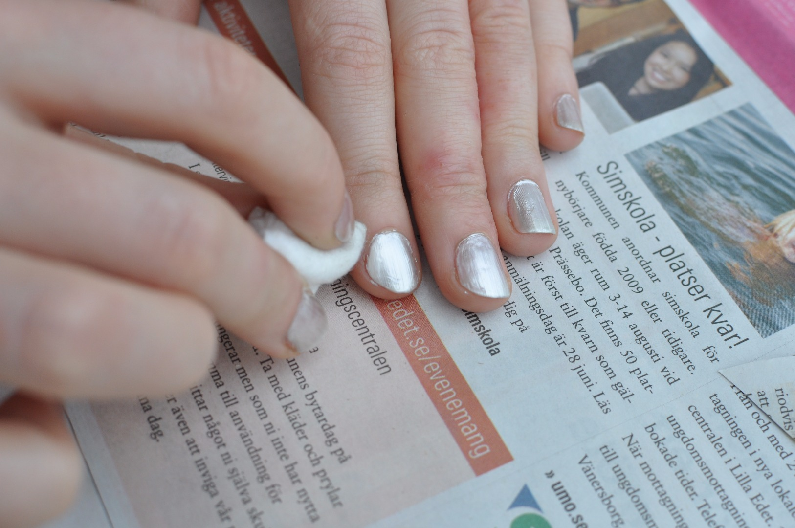 Picture of Cutting Paper and Painting the Nails