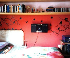 Red Wall With Birds and Branches