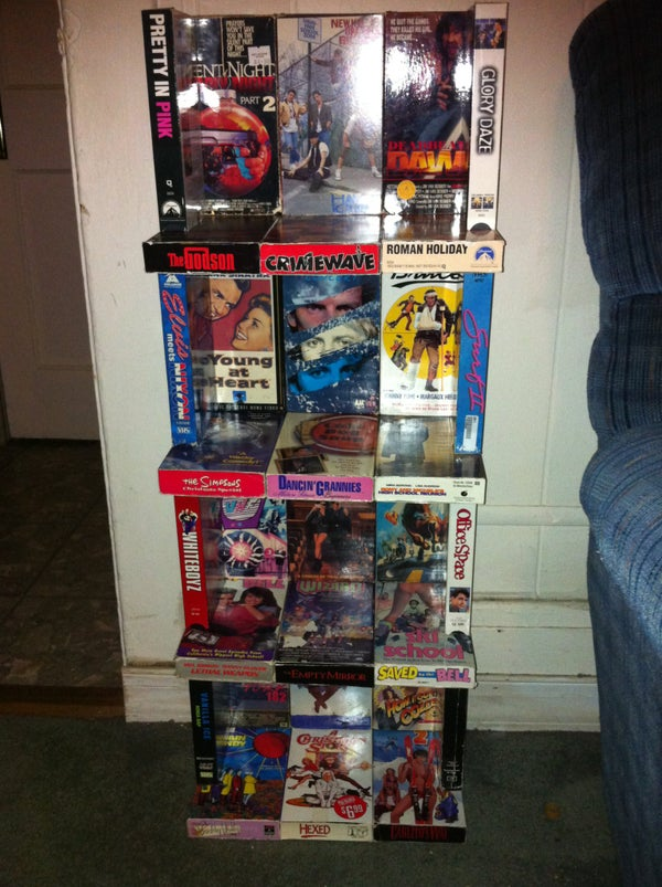 Recycled VHS Shelving