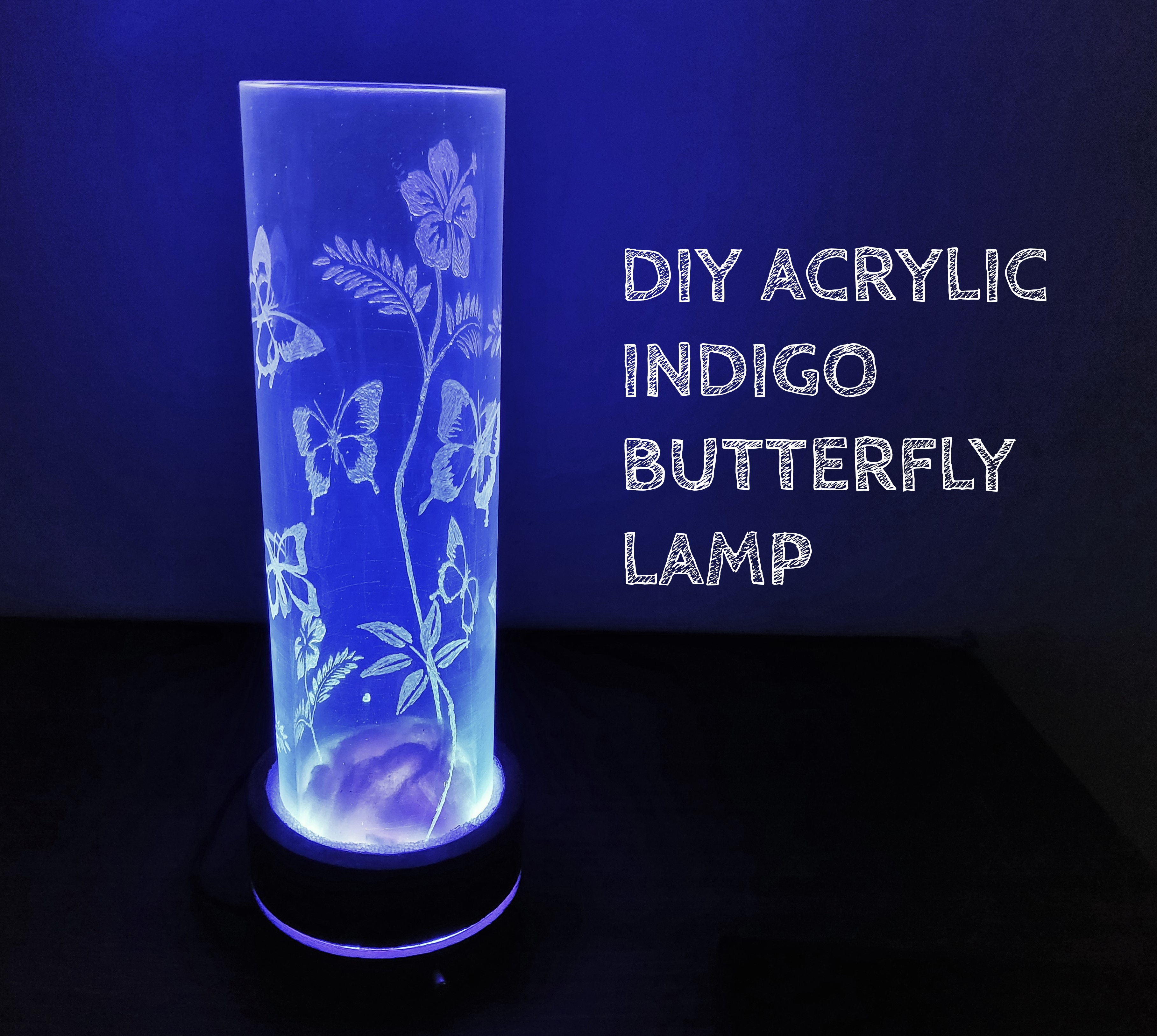 Picture of DIY ACRYLIC INDIGO BUTTERFLY LAMP.