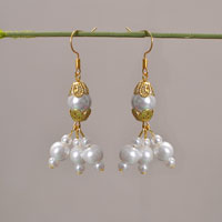 Picture of How to Make Fashion White Pearl Beads Drop Earrings for Wedding