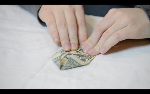 Origami Flower: How to Fold the Dollar Bills - Fold 4