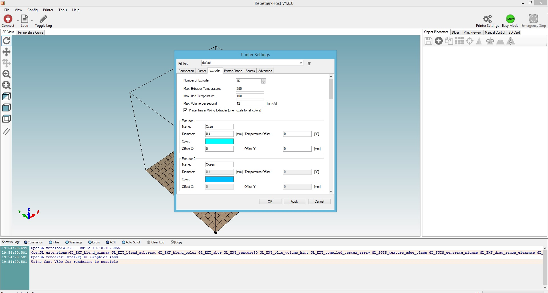 Picture of Setting Up Repetier Host for Color Mixing