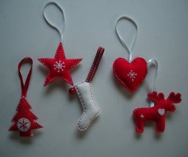 Scandinavian-style felt Christmas tree decorations