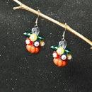 Tutorial on Pumpkin and Flower Cluster Earrings for Halloween