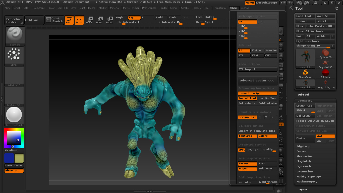 Picture of Creating a 3D Print From Start to File Using Zbrush for Beginners