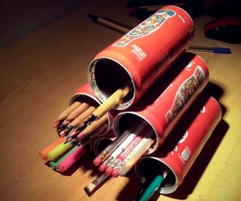 Pyramid of Horizontal Pencil Holders (Made of Tin Cans)